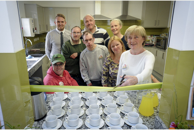The Prospects Trust at Snakehall Farm opening their new Prospects Products Training Kitchen at their 18 acre organic care farm with an Afternoon Tea celebration. Jill Frost cuts the ribbon with co-workers and supporters. Picture: David Johnson